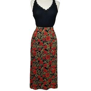 Vintage 90s Floral Petite Maxi Skirt